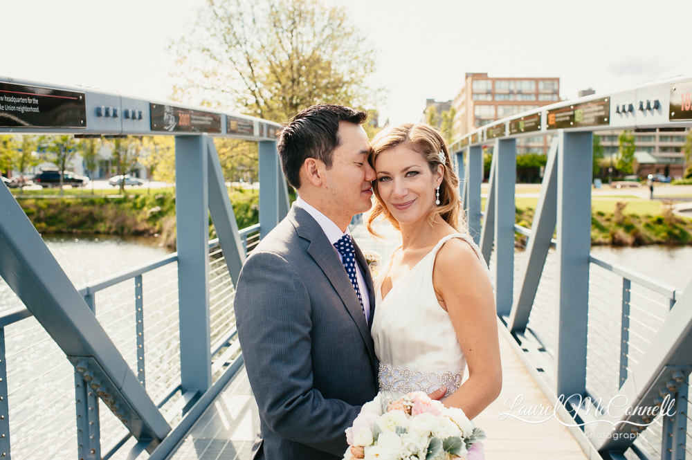 Graphic, modern wedding portraits by Seattle photographer Laurel McConnell.