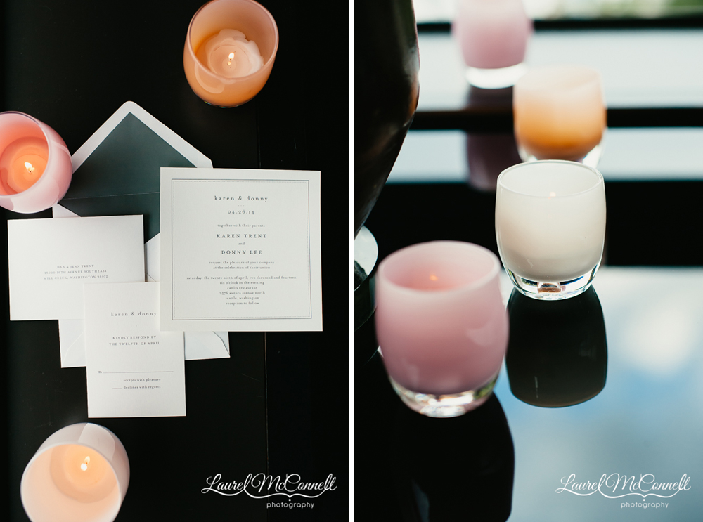 Wedding invitations by the Wedding Paper Divas and decor by Glassybaby.
