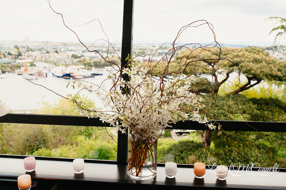 View from Canlis wedding of Lake Union with floral by Floressence.