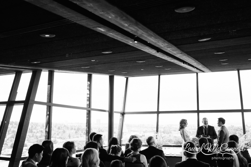 Canlis wedding looking out on Seattle's Lake Union.