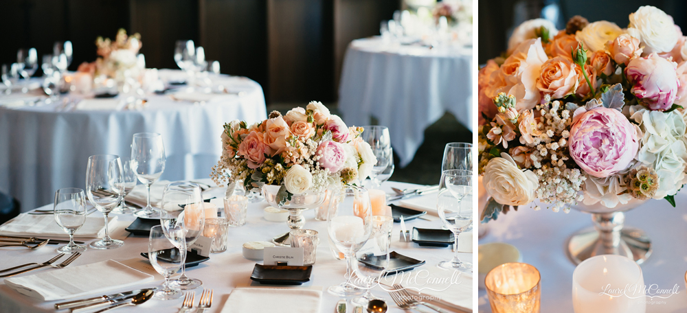 Romantic, lush, peach, pink, and white floral design by Floressence in Seattle, Washington.