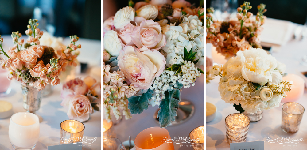 Pink, peach, white, floral centerpieces by Floressence in Seattle, Washington.