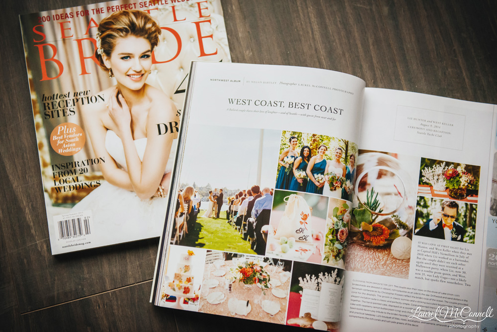 Seattle Bride Magazine Laurel McConnell Photography West Coast, Best Coast feature.