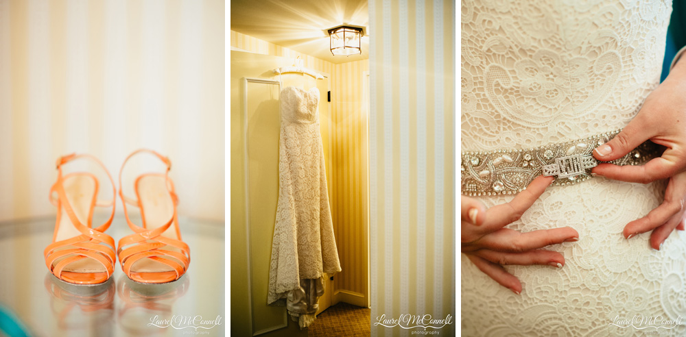Amy Kuschel wedding gown from Belltown Bridal with orange Kate Spade bridal sandals Laurel McConnell Photography..