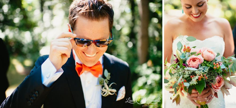 Fun groom portrait, orange bowtie, sunglasses, airplant boutonniere. Lush, coral, eucalyptus, alstroemeria, amaranth, and hypericum bouquet Laurel McConnell Photography.