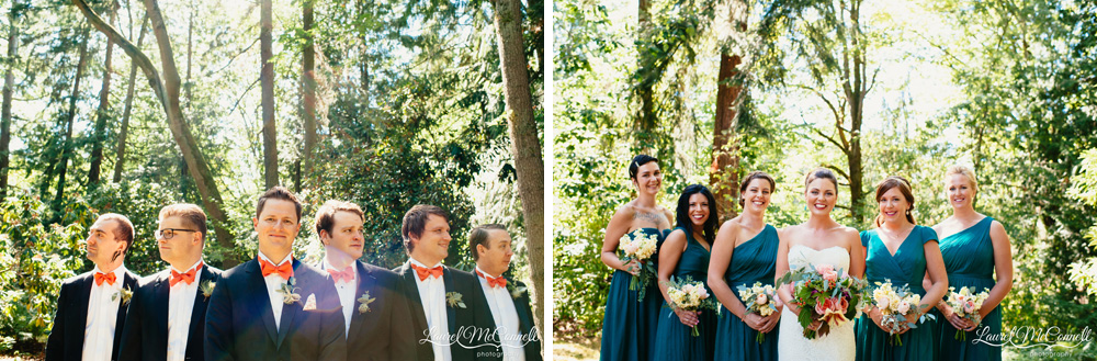 Turquoise, J Crew bridemaid dresses with groomsmen in orange bowties and airplant boutonnieres Laurel McConnell Photography.