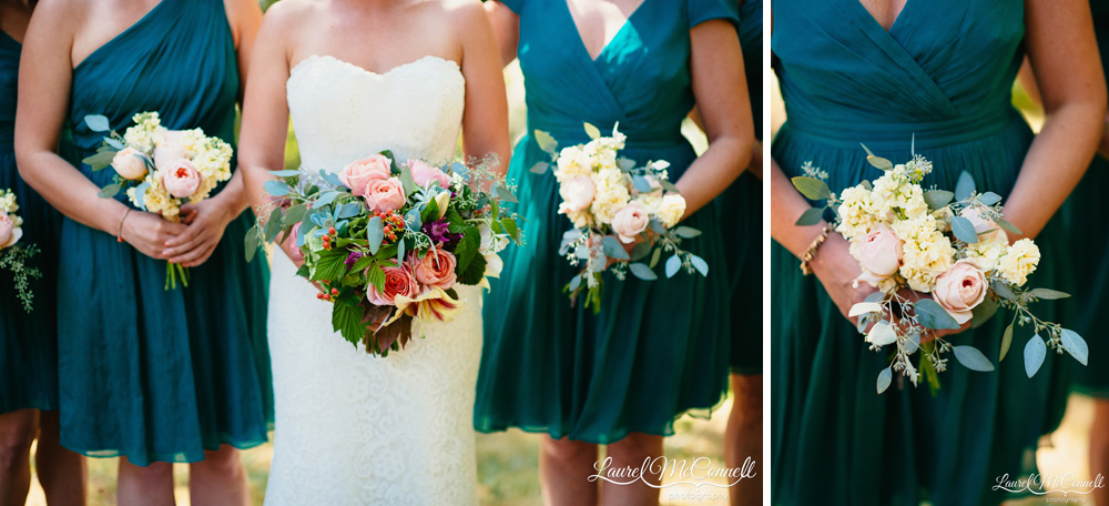 Lush pale green, rich coral wedding bouquets with lilies, roses, eucalyptus, alstroemeria, amaranth, and hypericum Laurel McConnell Photography.
