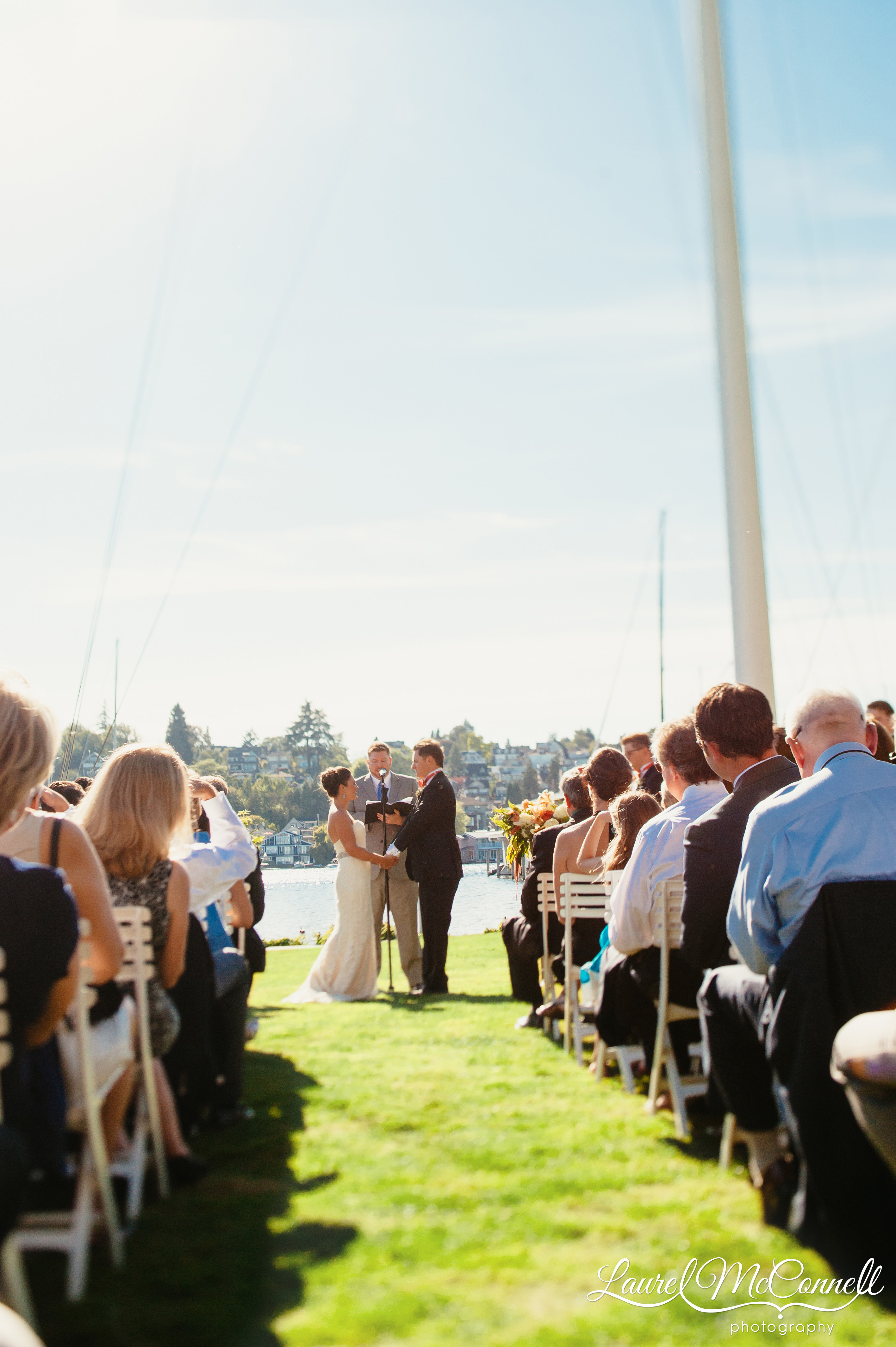 Seattle Yacht Club wedding overlooking Portage Bay Lake Union Seattle, Washington Laurel McConnell Photography.