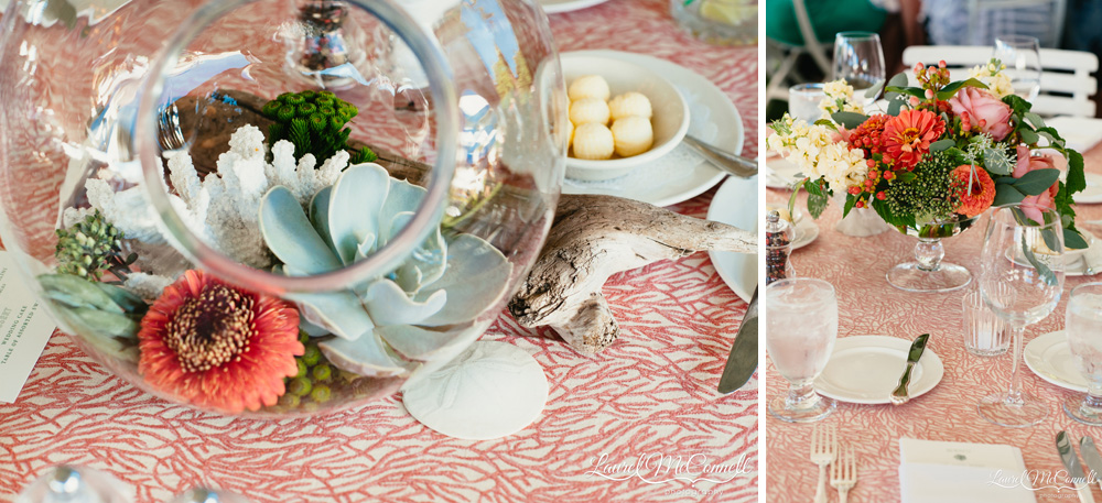 Coastal wedding table arrangements with succulent terrarium, driftwood, and coral centerpieces wedding coordinated by Megan Clark with Clutch Events Laurel McConnell Photography.