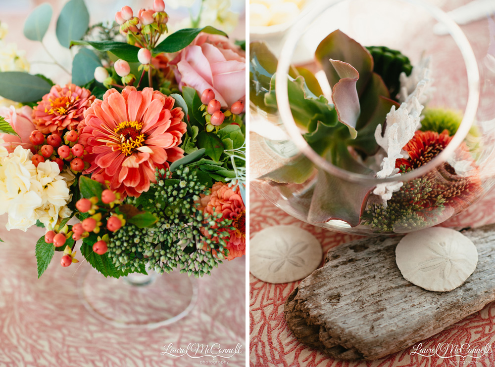 Lush, rich coral and pale green floral center pieces for Coastal themed wedding Laurel McConnell Photography.