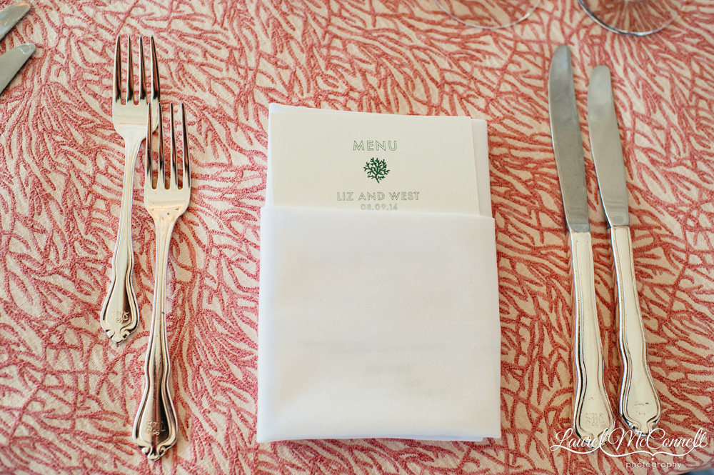 Unique patterned coral print wedding event linens by La Tavola Laurel McConnell Photography.