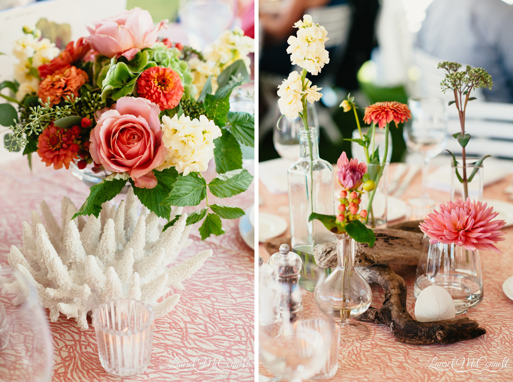 Megan Clark with Clutch Events coordinated coastal, ocean themed wedding with coral and beach collection centerpieces Laurel McConnell Photography.