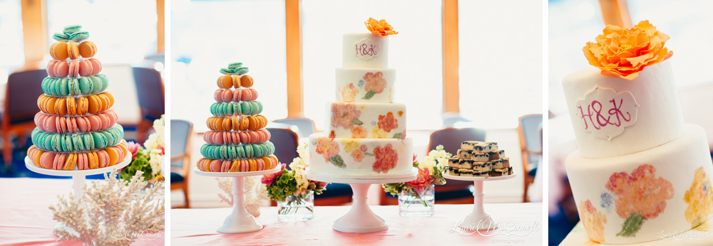 Handpainted wedding cake and customized color coordinated macarons by The Sweetside in Seattle, Washington Laurel McConnell Photography.