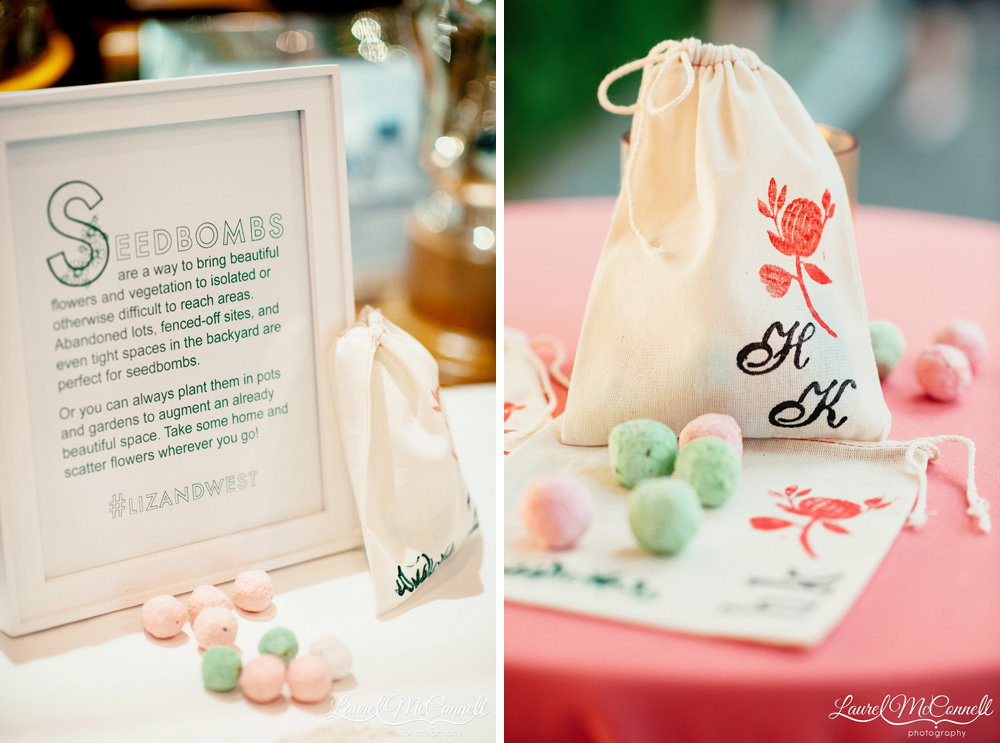 Unique seedbomb wedding favors for the gardener bride Laurel McConnell Photography.