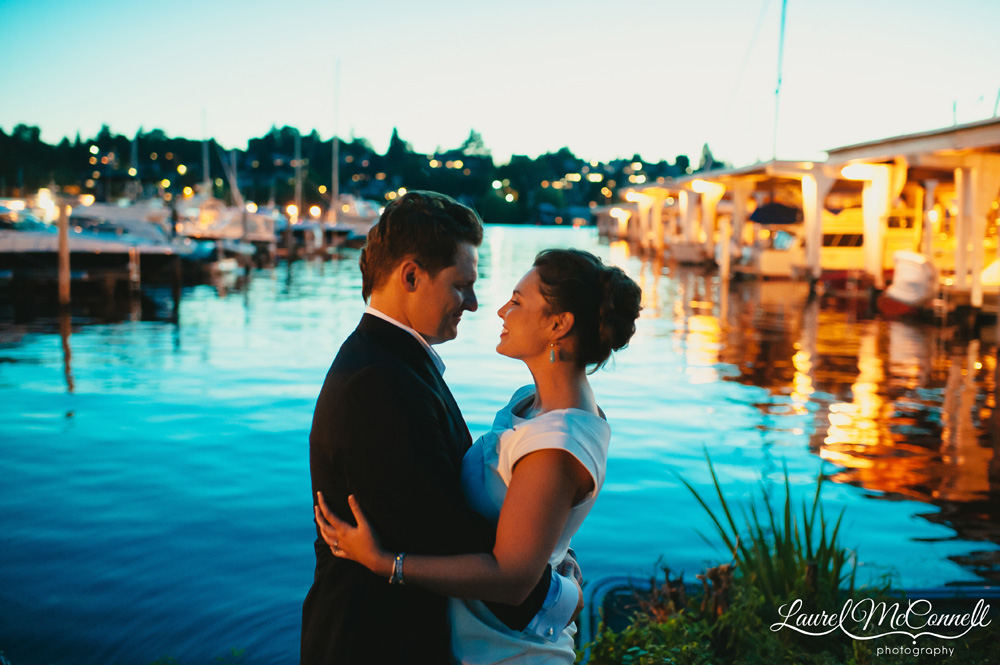 Sunset wedding portrait at the Seattle Yacht Club overlooking Lake Union's Portage Bay in Seattle Laurel McConnell Photography.