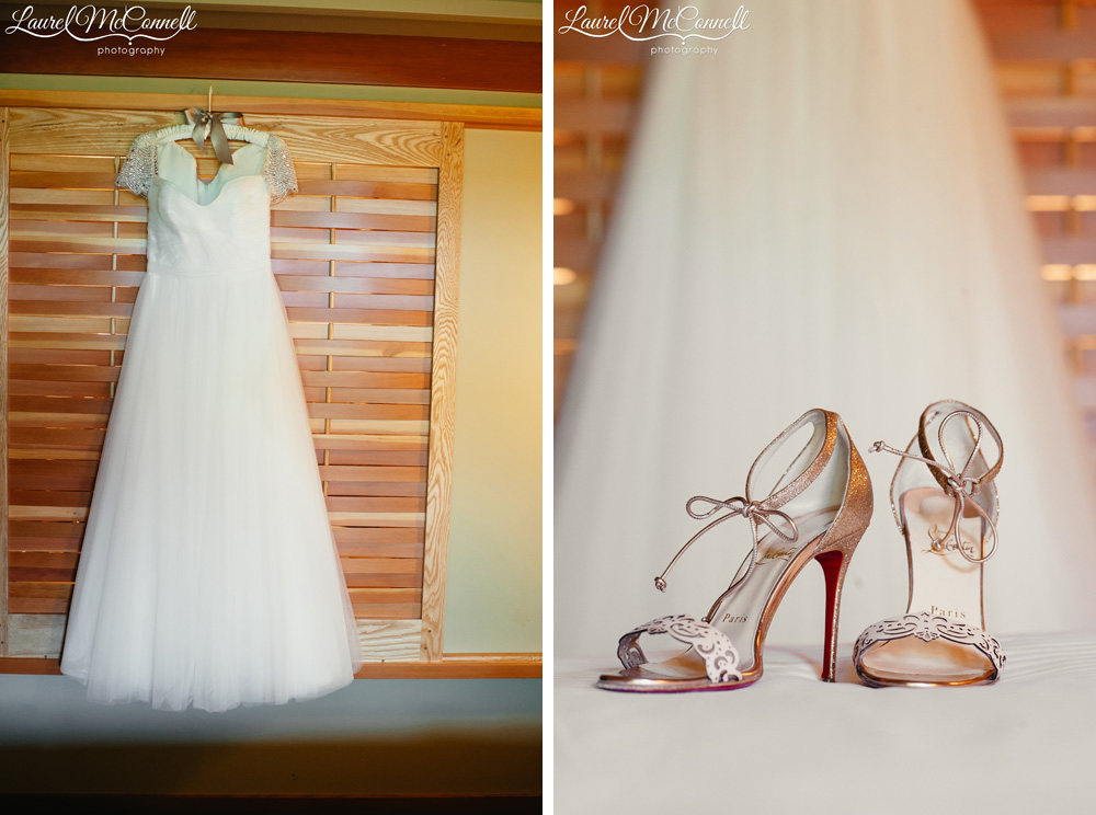 Reem Acra bridal gown with Louboutin wedding shoes photographed by Laurel McConnell Photography in Seattle, Washington.