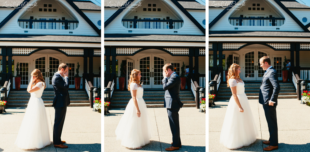 Fun first look ideas at a Columbia Winery wedding in Woodinville, Washington photographed by Laurel McConnell Photography.