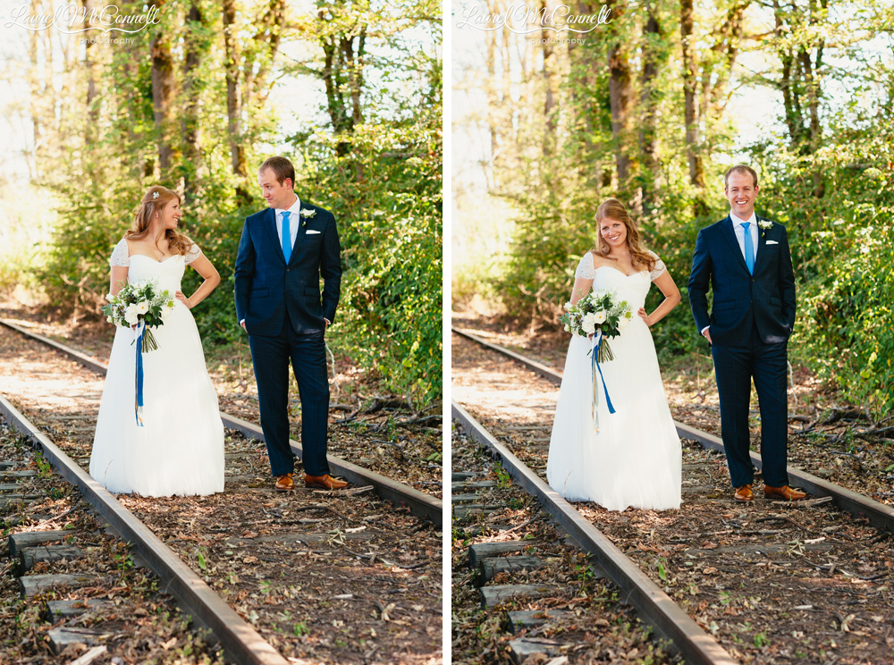 Wooded, pnw bridal portraits on abandoned train tracks photographed by Laurel McConnell Photography.