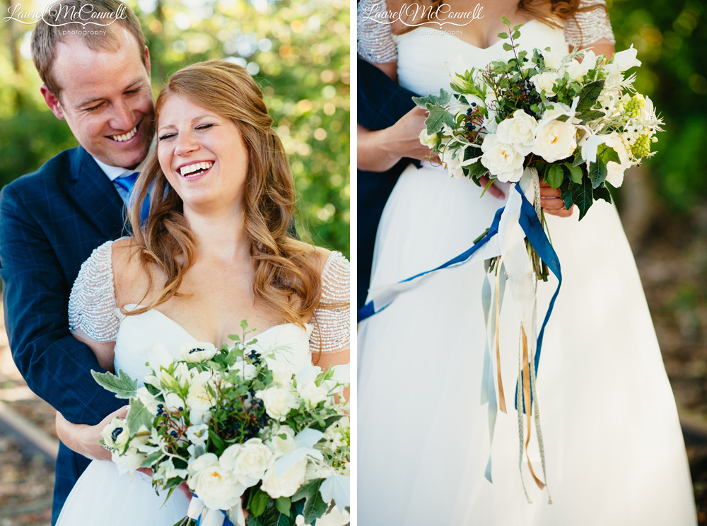 Locally-source, white and sage bridal bouquet created by Stacy Anderson photographed by Lauel McConnell Photography.