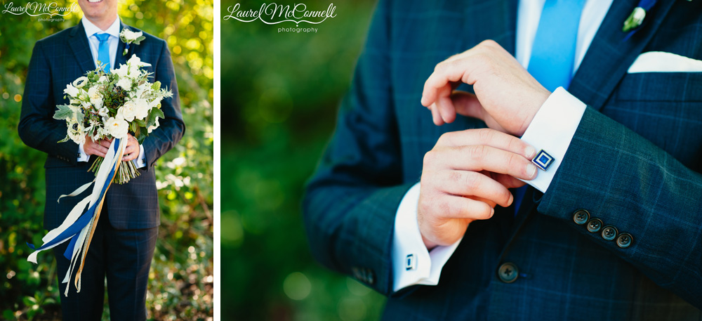 Portrait of groom holding white and green, locally-sourced Pacific Northwest bouquet and detail of square, navy-blue wedding cufflink photographed by Laurel McConnell Photography.