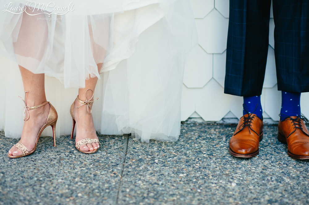 Louboutin gold wedding shoes and navy and white groom's socks photographed by Laurel McConnell Photography.