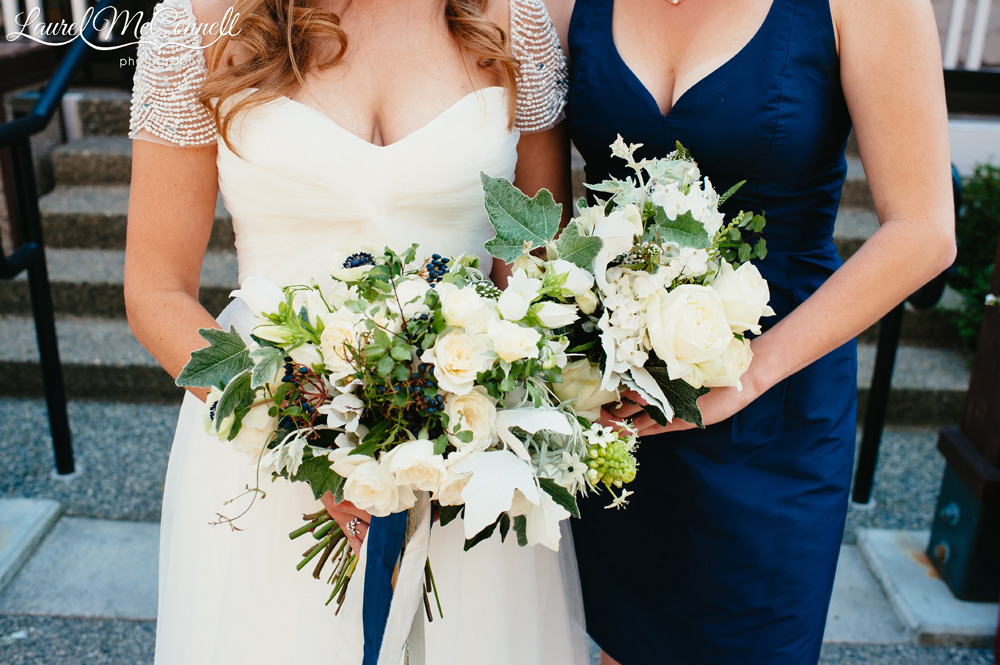 Locally-source, Pacific Northwest, cream, white, green, sage bridal and bridesmaids bouquets created by Stacy Anderson, photographed by Laurel McConnell Photography.
