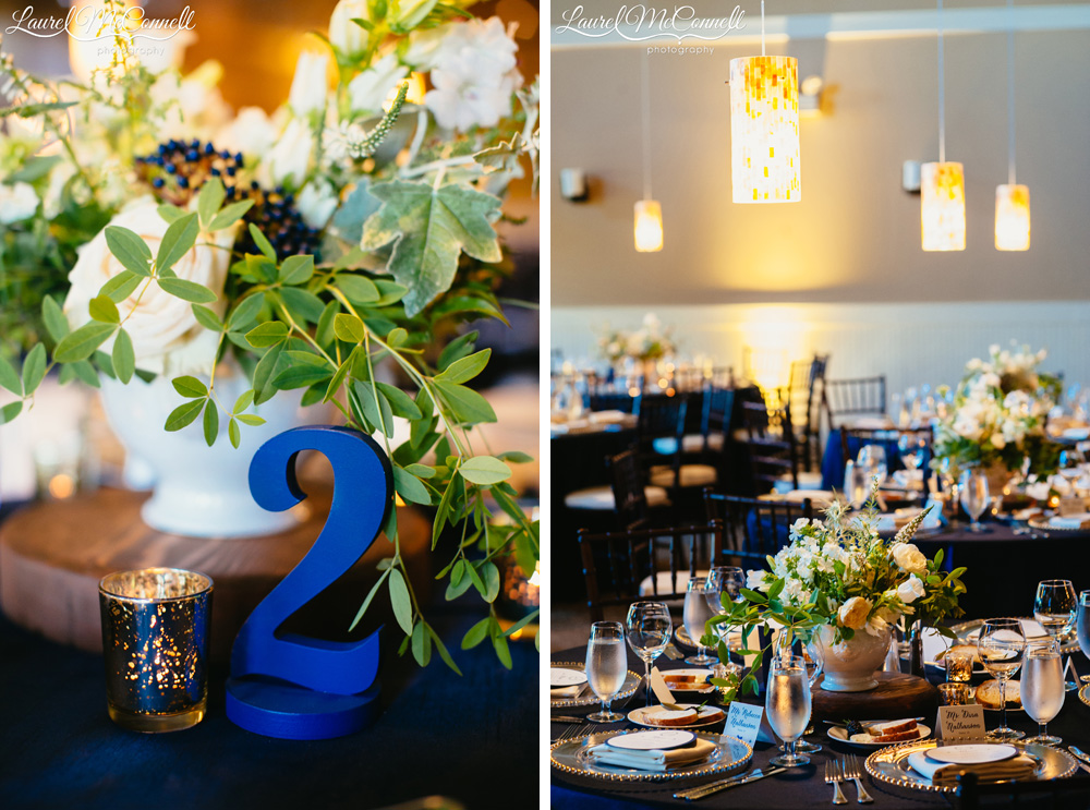 Pendant lighting created by GreenLight Event Design, with blue, sage, and white wedding decor coordinated by Holly-Kate & Company at Columbia Winery wedding reception photographed by Laurel McConnell Photography,
