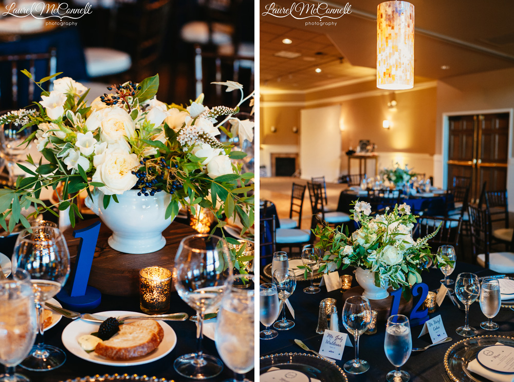 Navy blue, cream, and sage wedding decor at Columbia Winery near Seattle, photographed by Laurel McConnell Photography.