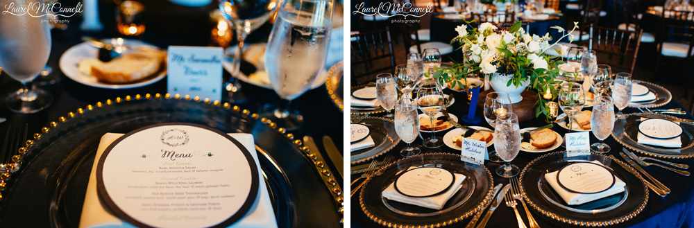 Modern, circular menu with navy blue table linens at Columbia Winery wedding, photographed by Laurel McConnell Photography.