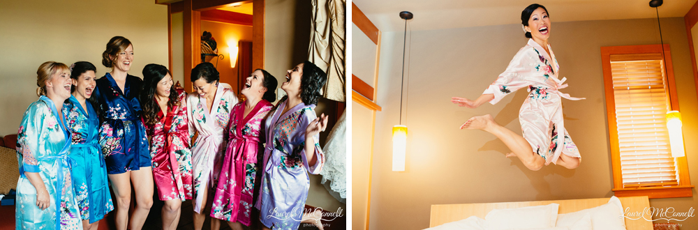 Bridesmaids getting ready in floral silk robes and jumping on the hotel bed.