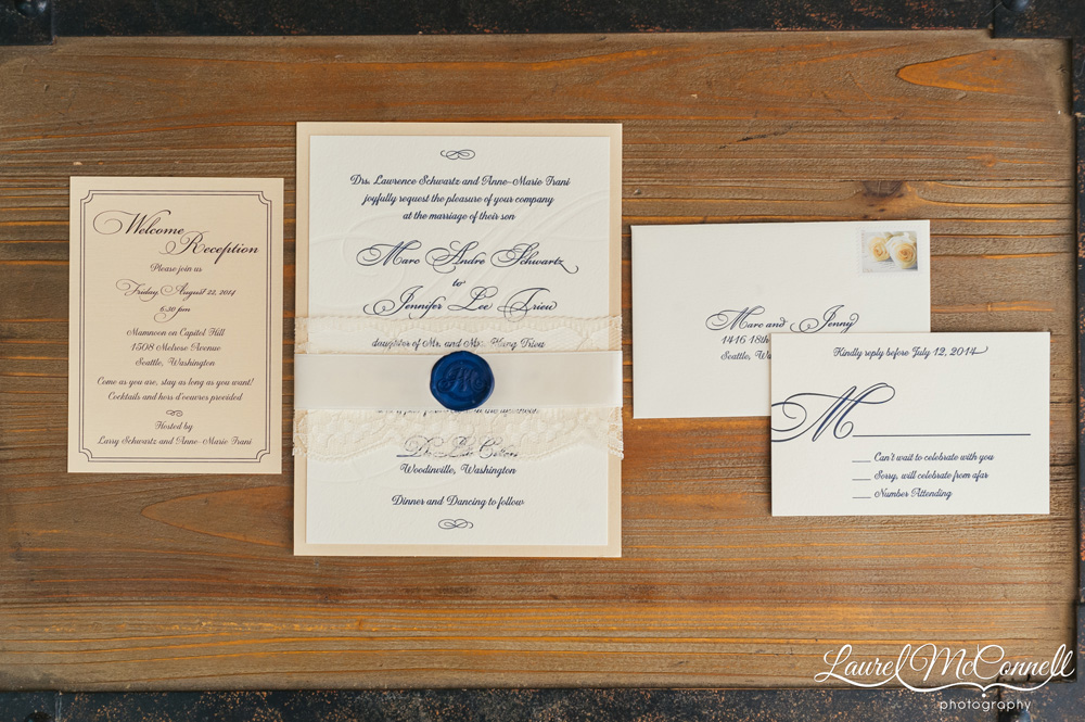 Paper Fling elegant wedding invitation suite photographed by Laurel McConnell Photography in Seattle, Washington.