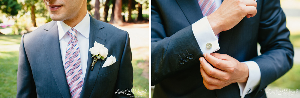 Groom in Zenga suit and purple tie with monogrammed cufflinks photographed by Laurel McConnell Photography in Seattle, Washington.