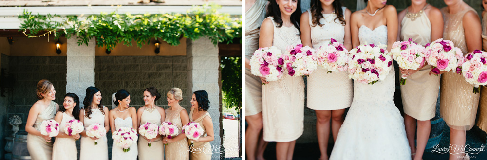 White, cream, pink, fuschia bridesmaid and bridal bouquets created by Flora Nova design and photographed by Laurel McConnell Photography.
