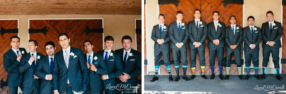 Groom and groomsmen in Zenga suits and fun, striped socks photographed by Laurel McConnell Photography in Seattle.