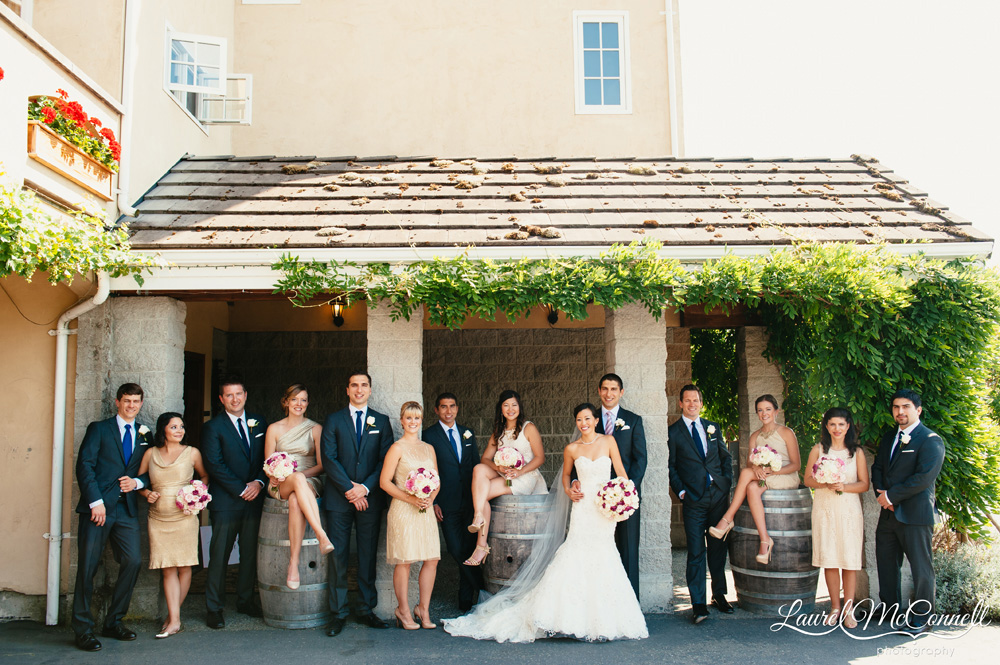 Bridal party portrait at Delille Cellars in Woodinville, Washington photographed by Laurel McConnell Photography.