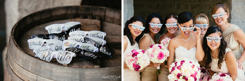 Bridesmaid portrait with customized sunglasses party favor photographed by Laurel McConnell Photography.