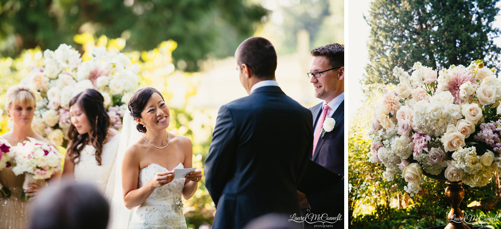 Outdoor wedding ceremony at Delille Cellars in Woodinville, Washington photographed by Laurel McConnell Photography.