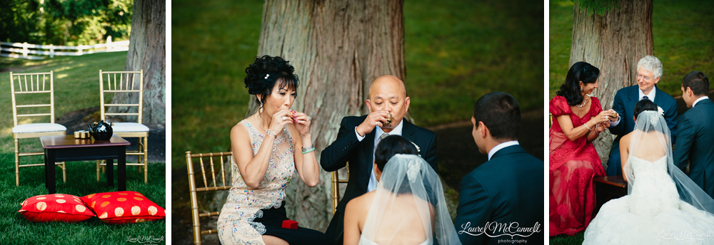 Tea ceremony during outdoor Seattle wedding ceremony photographed by Laurel McConnell Photography.