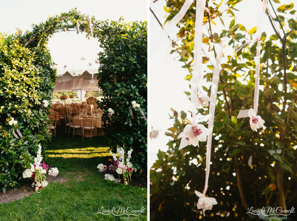 Outdoor wedding reception entrance through hedge archway photographed by Laurel McConnell Photography.