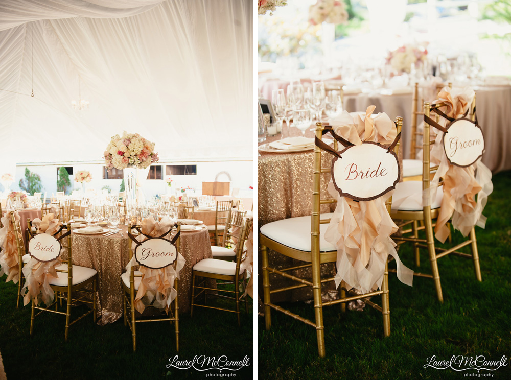 Champagne, rose gold, sequin, and ruffled wedding reception with Bride and Groom chair backers photographed by Laurel McConnell Photography.