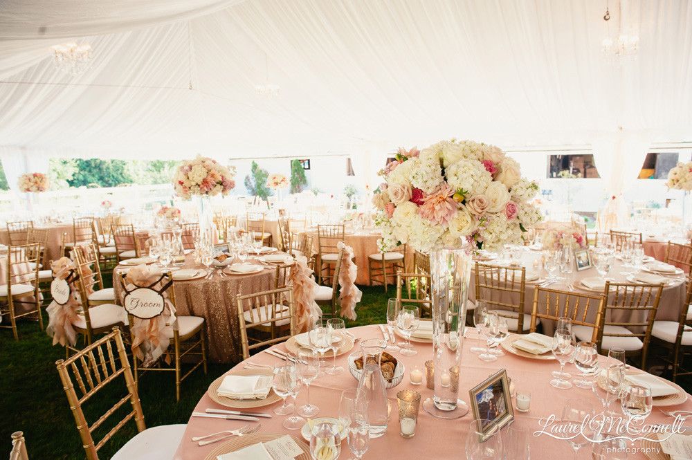 Lush, rich pink, gold, cream wedding reception decor styled by Prive Events.