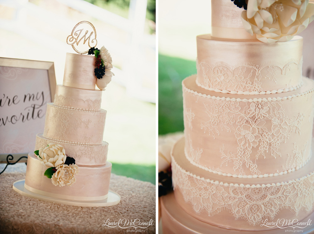 Gorgeous rose gold and lace wedding cake created by Honey Crumb Bakery.