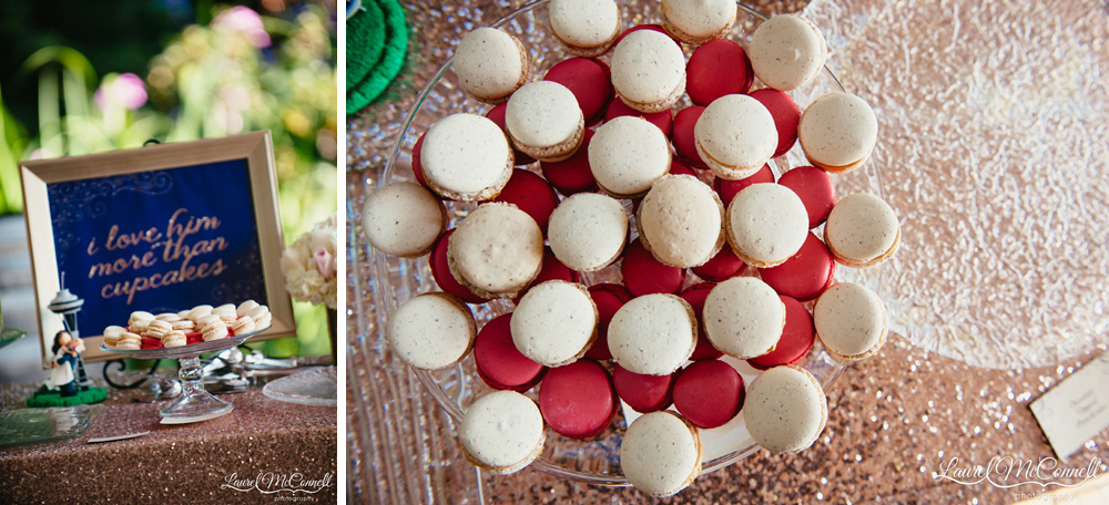 Custom color-coordinated wedding macarons photographed by Laurel McConnell Photography.