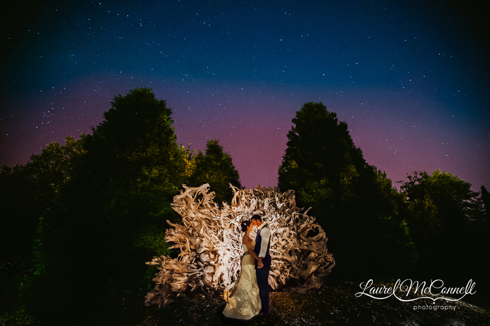 Bride and Groom portrait under the stars at Woodinville's Willow's Lodge by Laurel McConnell Photography.