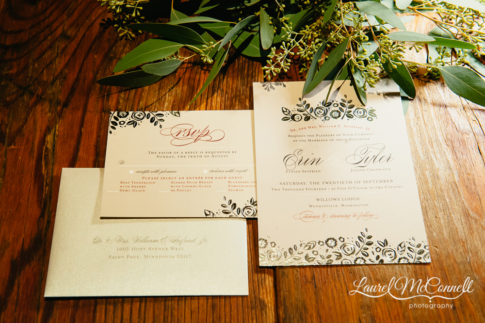 Wedding Invitation Suite from Minted for woodsy, outdoor, PNW wedding, photographed by Laurel McConnell.