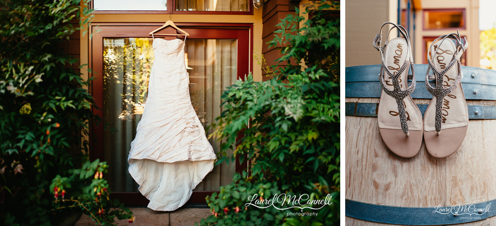 Enzoni wedding gown from Luly Yang and Sam Edelman sandle wedding shoes photographed by Laurel McConnell Photography.