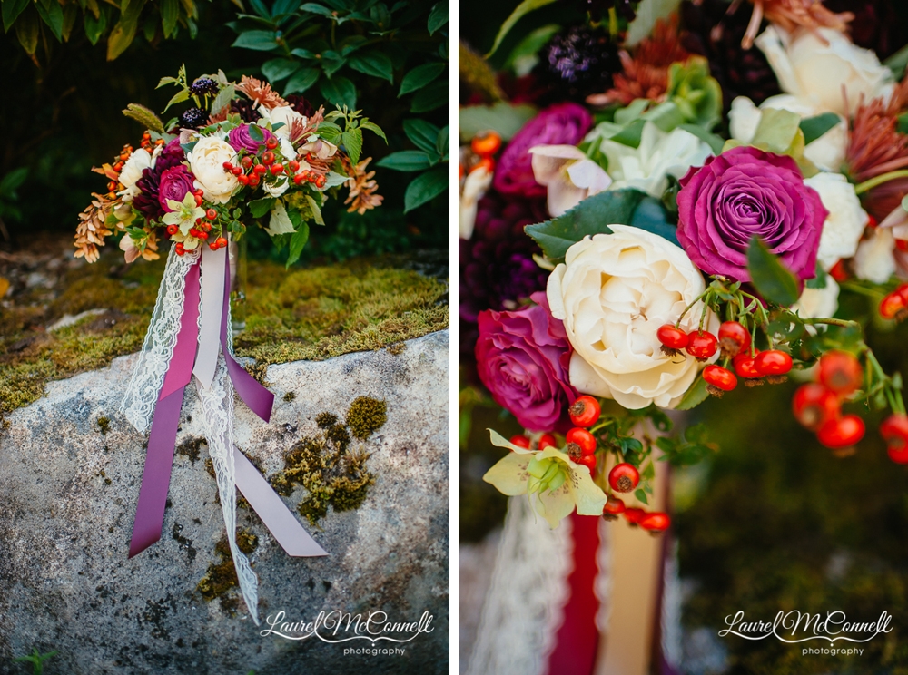 Purple, magenta, orange, berry filled bridal bouquet by Finch & Thistle photographed by Laurel McConnell Photography.