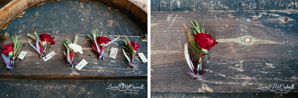 One-of-of-a-kind bountonnires made with fly fishing lures and hooks and sprigs of greenery created by Finch & Thistle, photographed by Laurel McConnell.