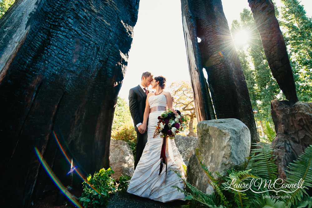 Bride and Groom outdoor, tree lined bridal portrait by Laurel McConnell Photography.