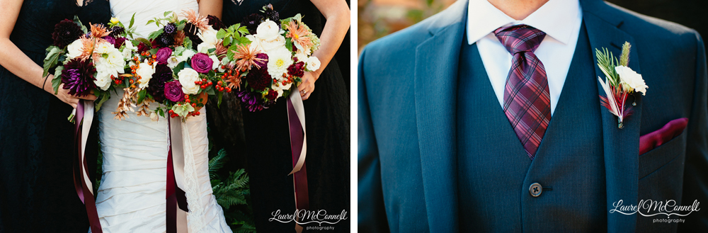 Lush purple, magenta, and orange wedding florals by Finch & Thistle photographed by Laurel McConnell.